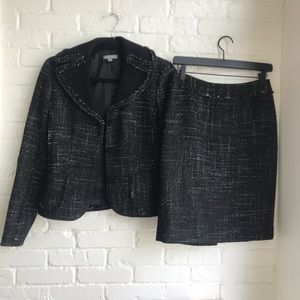 Ann Taylor Tweed Suit Set sZ 0 skirt sZ 2 jacket